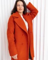 Довге жіноче пальто з поясом 4 ґудзика, помаранчеве