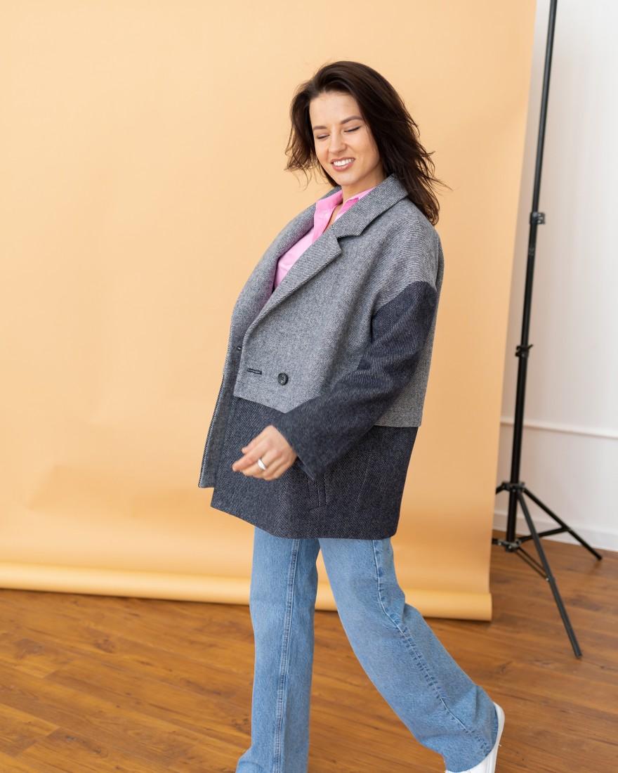 Жіноче коротке пальто-піджак, синя ялинка
