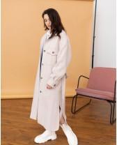 Довге жіноче пальто-сорочка, світла ялинка