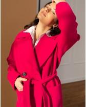 Жіноче пряме пальто з накладними кишенями, малинове