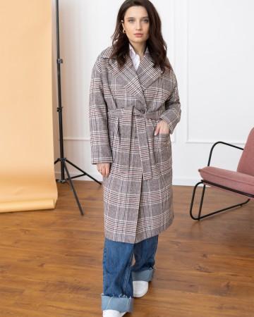 Жіноче пряме пальто з накладними кишенями, сіра клітинка