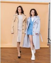 Жіночне пальто з клапаном, голубе