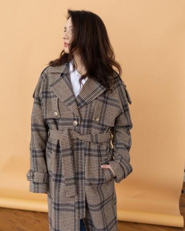 Жіночне пальто з клапаном, коричнева клітинка
