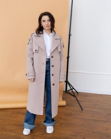 Жіночне пальто з клапаном, світла клітинка