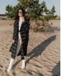 Довге двубортне пальто з поясом 4 ґудзика, чорне у білу клітинку