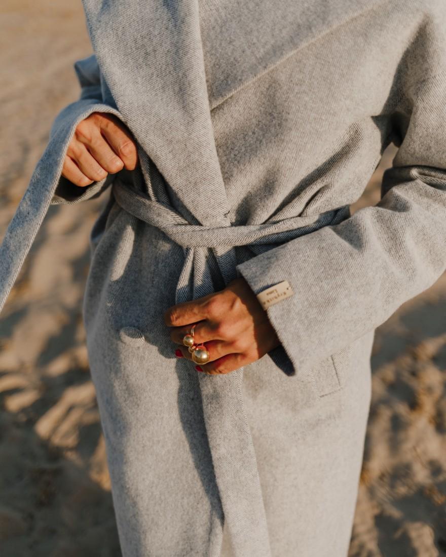 Довге пальто з поясом 4 ґудзика, світлий денім