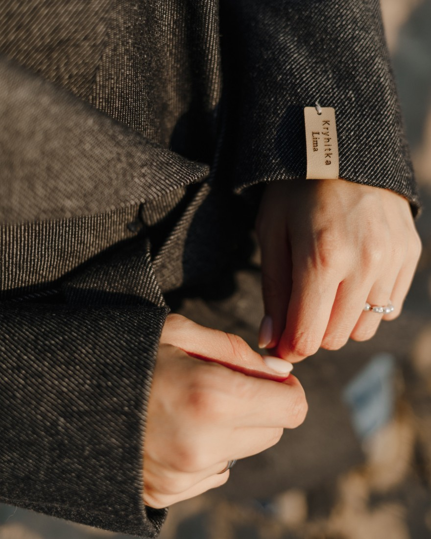 Довге пальто з поясом 4 ґудзика, темний денім