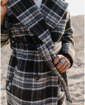 Довге пальто з поясом 4 ґудзика, темно-сіре у клітинку