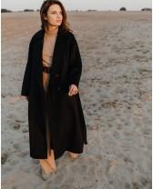 """Пальто-халат """"Signature"""" двубортне з поясом, чорне"""