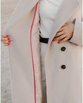 """Пальто-халат """"Signature"""" двубортне з поясом, бежеве"""