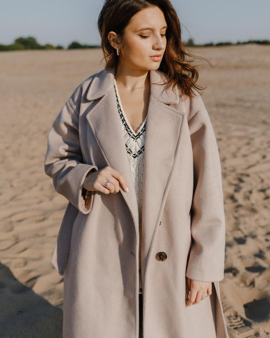 Пальто-халат двубортне з поясом, бежеве