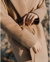 Довге двубортне пальто з поясом 4 ґудзика, кемел