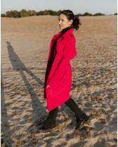 Довге пальто з відльотним клапаном, малинове