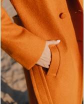 Довге двубортне пальто з поясом 4 ґудзика, руде