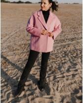 Пальто-піджак з вовняної тканини, рожеве