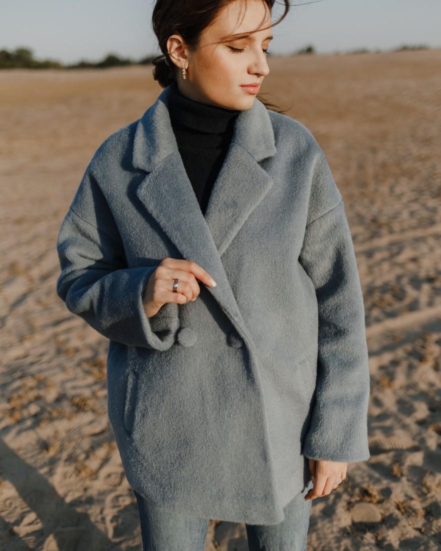Пальто-піджак з вовняної тканини, блакитна вовна