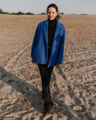Пальто-піджак з вовняної тканини, синє довговорсове