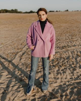 Пальто-піджак з вовняної тканини, фіолетове