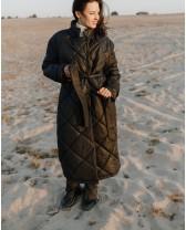 Стьобане пальто-пуховик, чорний